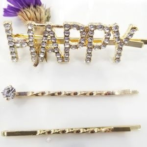 "Accessories - Gold righnstone ""HAPPY"" Hair pin"